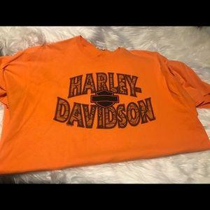 Orange Harley Davidson tee shirt